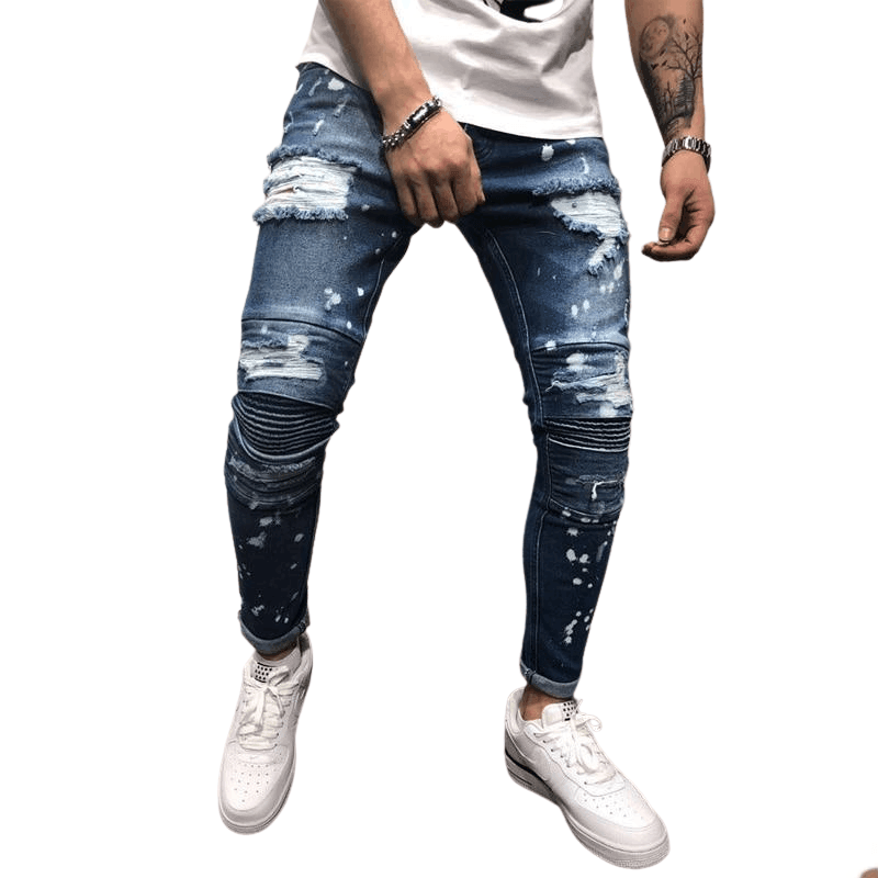 Men's Stretchy Ripped Jeans