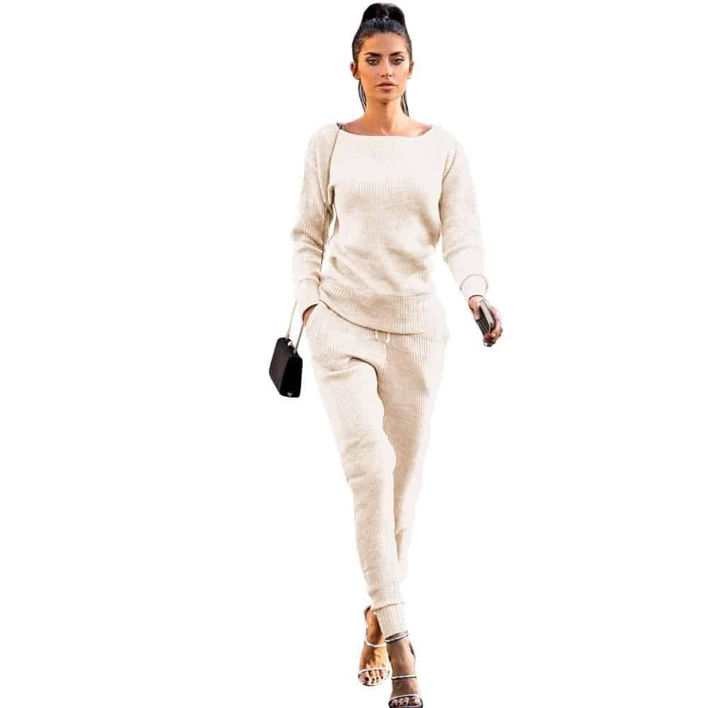 Women 2 Piece Casual Pants Suit - Beauty and Trends