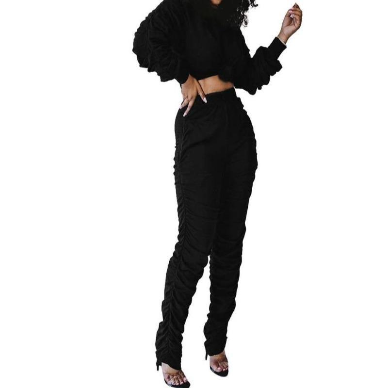 Women's 2 Piece Bun Top Pants Suit | Women's Bun Top Pants