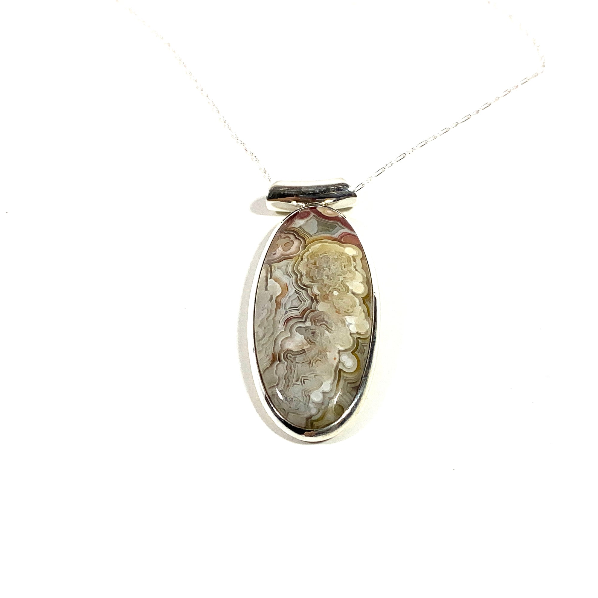 sterling silver crazy lace Agate stone pendant necklacefocal stone laguna lace agate necklace sterling silver crazy lace agate necklace