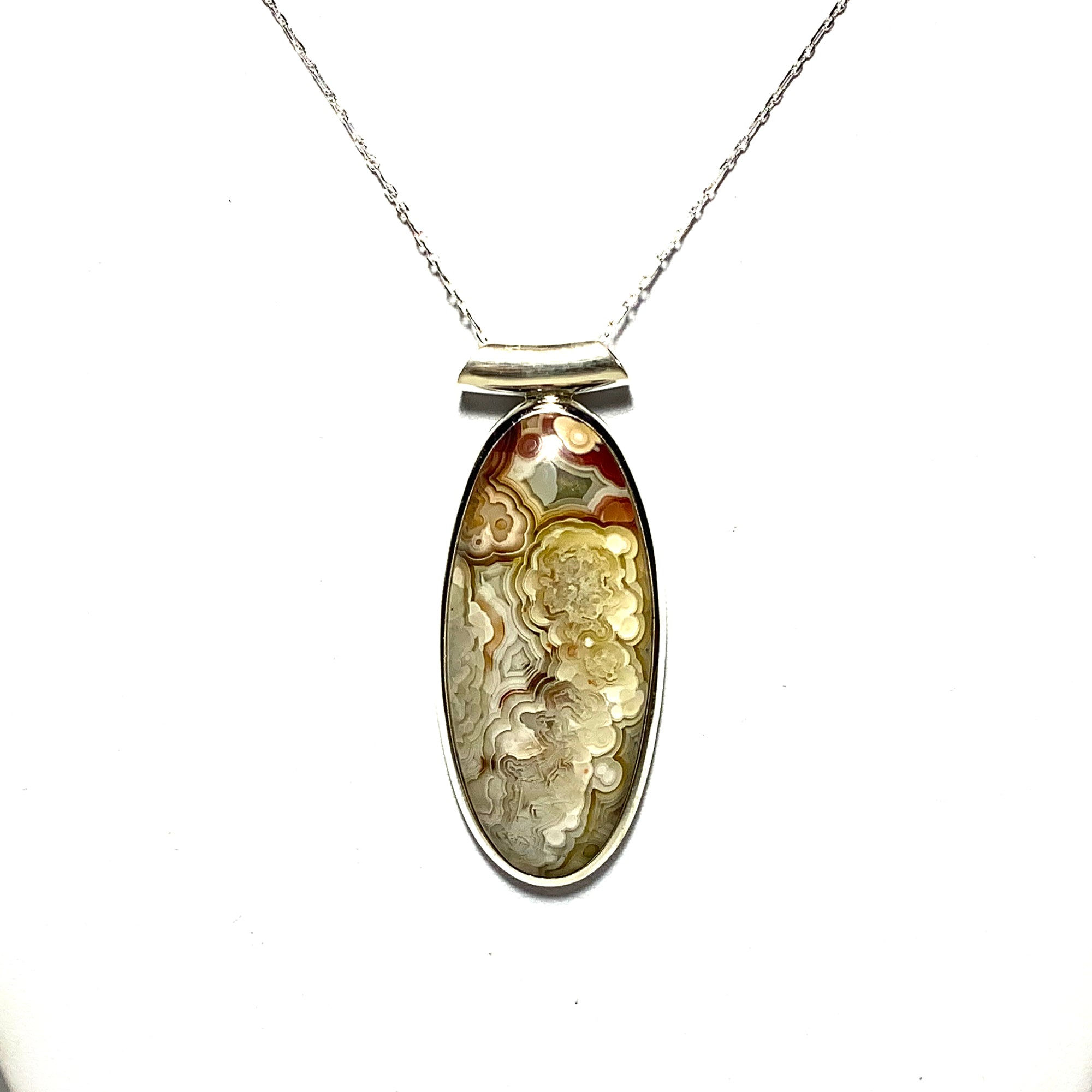 Crazy Lace Agate Pendant 1 12 925 Sterling Silver PD689110