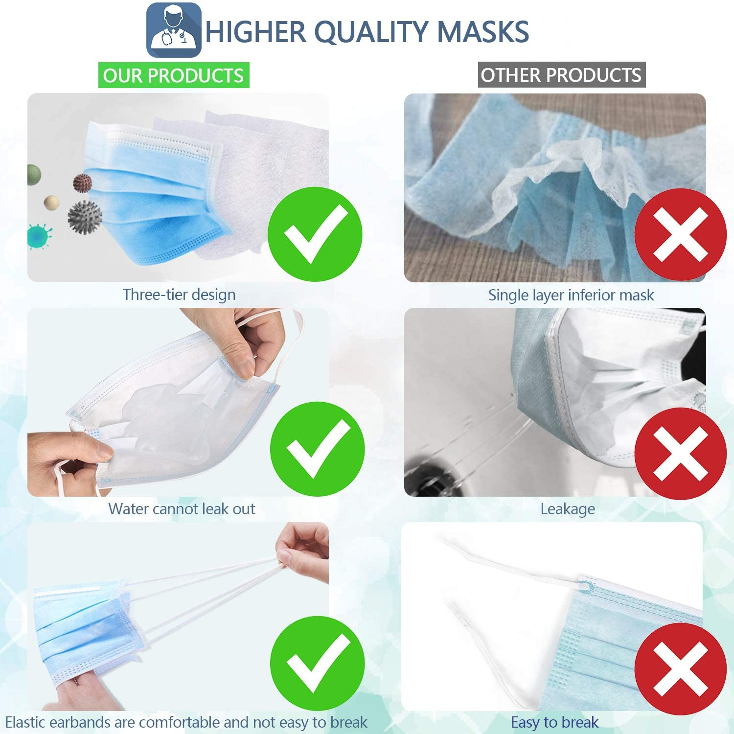 shopify-Pack of 20 Disposable Face Masks - Breathable General Use Face Mask-3