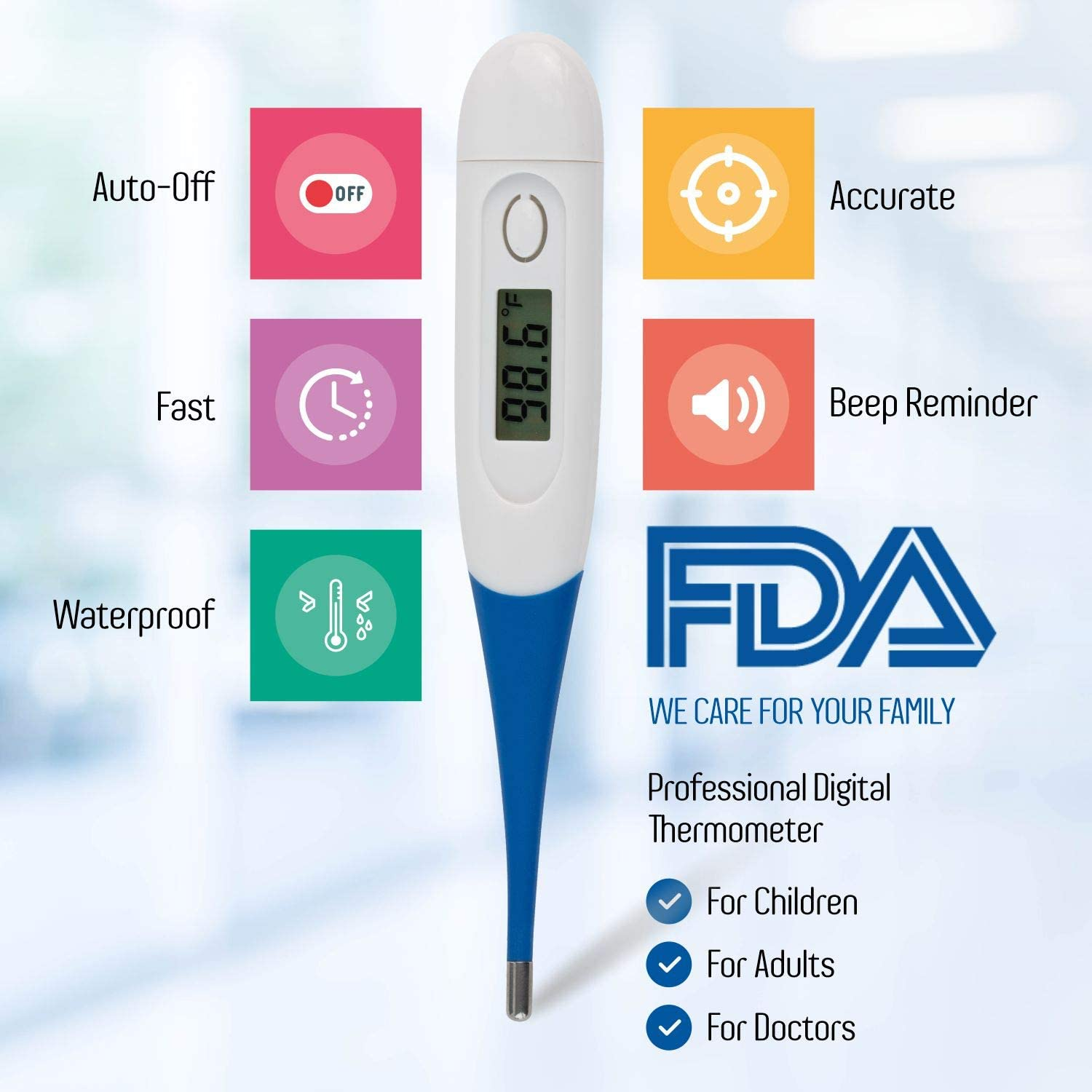 shopify-Pack of 2 Digital Thermometer for Babies, Adults or Kids With Soft Tip-1