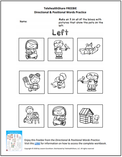 FREE Directional and Positional Word Practice Worksheet (Left)