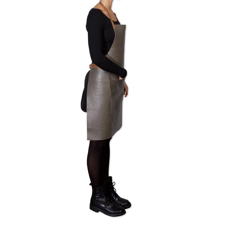 "Dutchdeluxes Full Length BBQ Style New Grey Leather with Cognac Straps ""Amazing Apron"""