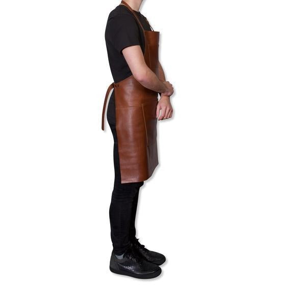 "Dutchdeluxes Full Length Coated Classic Brown Leather ""Professional Apron"" - Le Marché Pop Up"