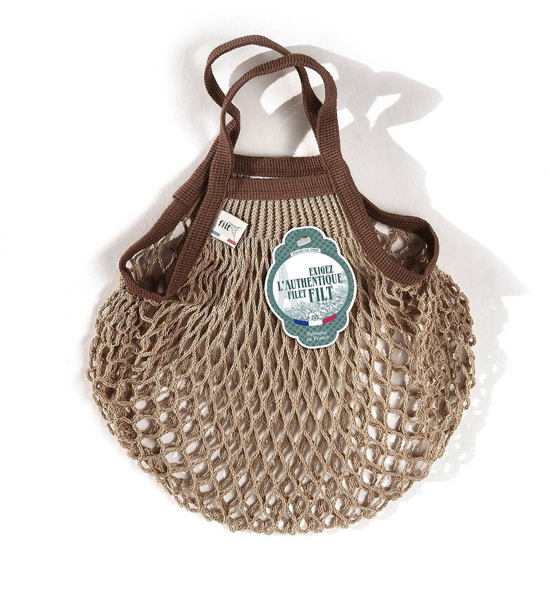 Filt Mini Bag in Beige with Brown Handles - Le Marché Pop Up