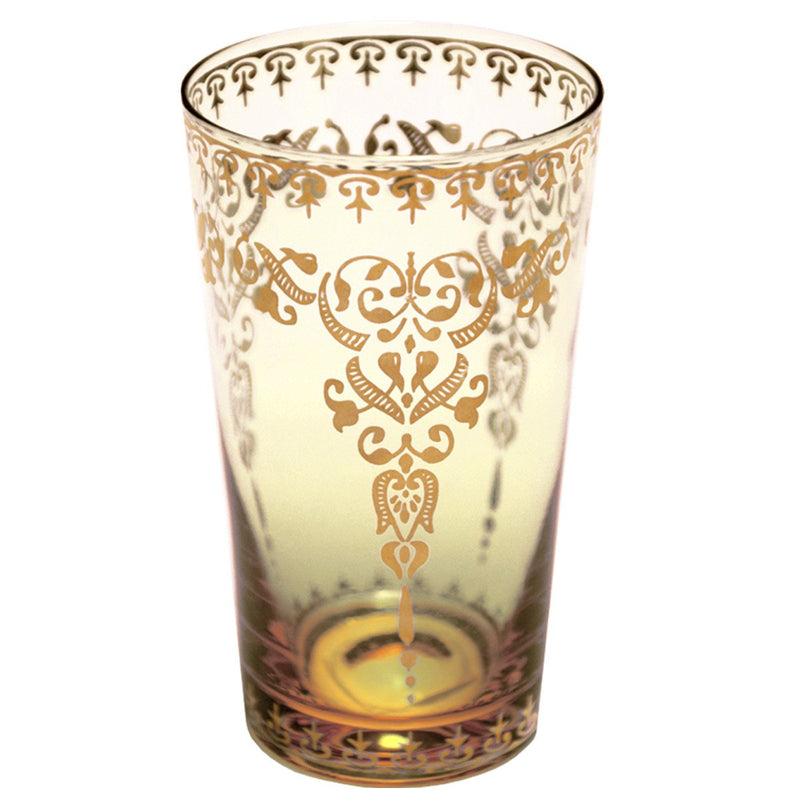 Moroccan Amber Large Glass with Gold Decal (Set of 4)