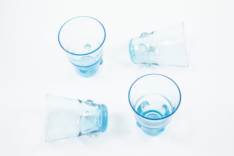 Large Tumbler Aqua Habsbourg Glass with Aqua Details (Set of 4)