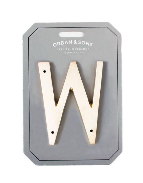 "Orban & Sons Brass Letter ""W"" - Le Marché Pop Up"
