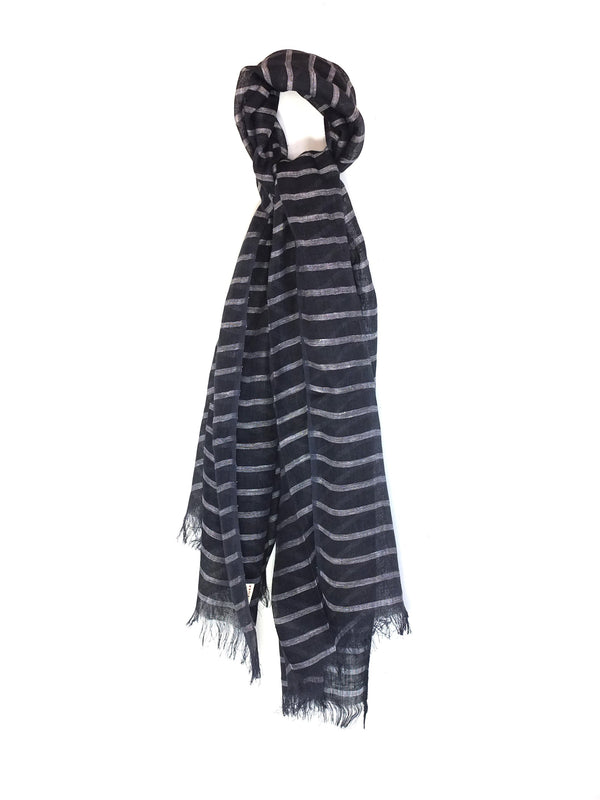 Navy Linen Stripe Scarf - Le Marché Pop Up