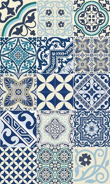 Beija Flor Blue Eclectic Floor Mat - Le Marché Pop Up