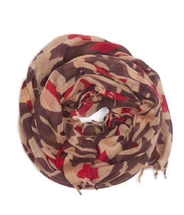 Peach with Deep Brown & Red Scarf - Le Marché Pop Up