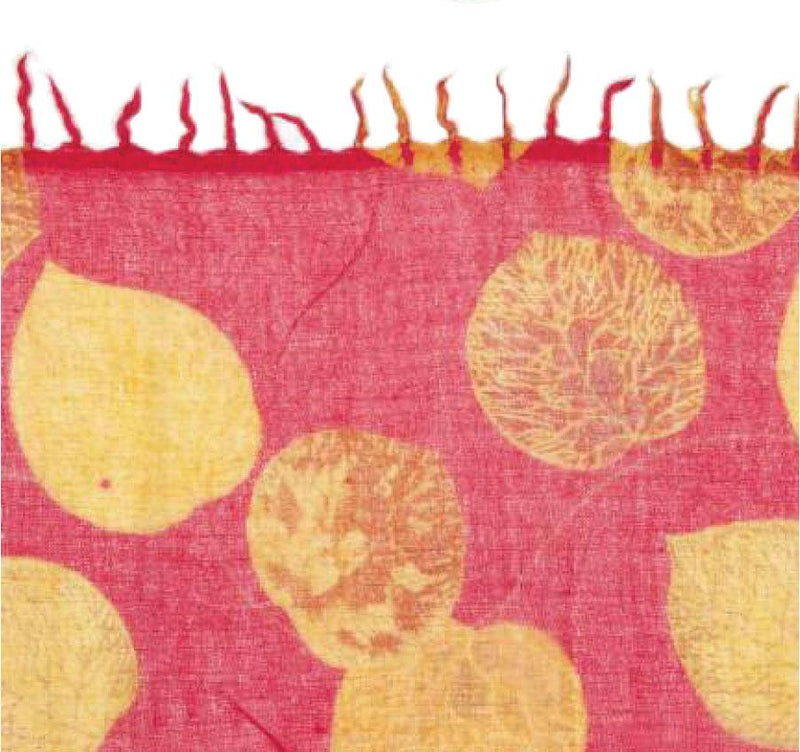 Merino Wool Scarf - Fuchsia with Gold Leaf - Le Marché Pop Up