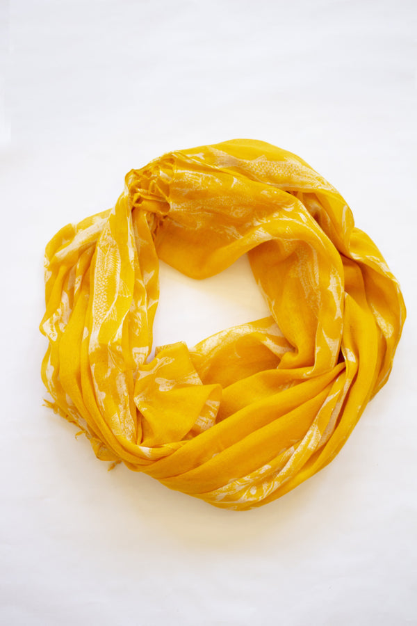 Merino Wool Scarf - Yellow with White Fish - Le Marché Pop Up