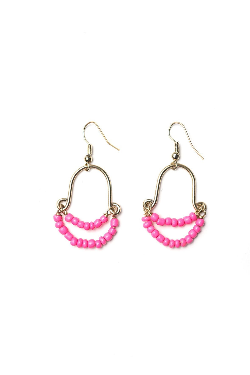 Pink Beaded Earrings - Le Marché Pop Up