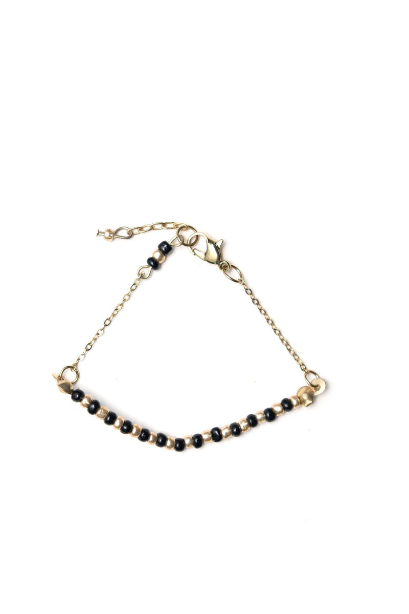 Black and Gold Beaded Bracelet - Le Marché Pop Up