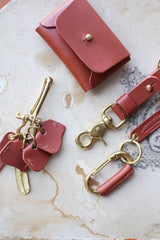 Orban & Sons Mahogany Brown Leather Fish Hook Keychain in Cotton Pouch - Le Marché Pop Up