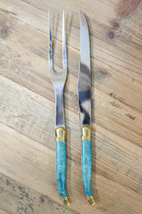 Laguiole Carving Set in Marbled Turquoise - Le Marché Pop Up