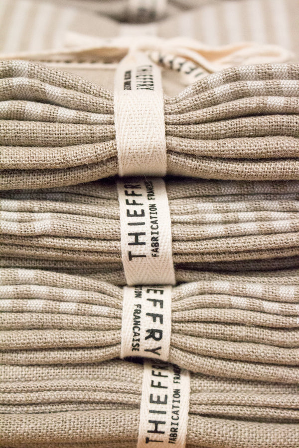 Thieffry Set of Two Dish Towels White Stripe & Natural