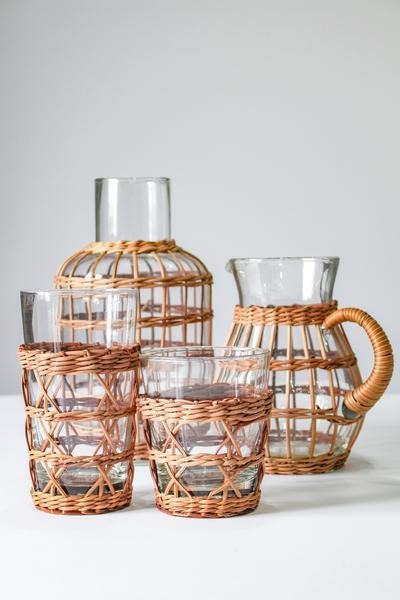 Rattan Cage Pitcher - Le Marché Pop Up