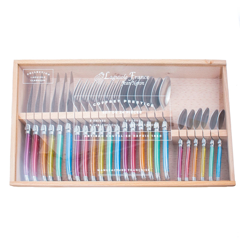 Laguiole Rainbow Flatware in Wooden Box with Acrylic Lid (Set of 24)