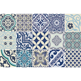"Beija Flor Blue Eclectic Placemat (13"" x 20"") Set of 2"
