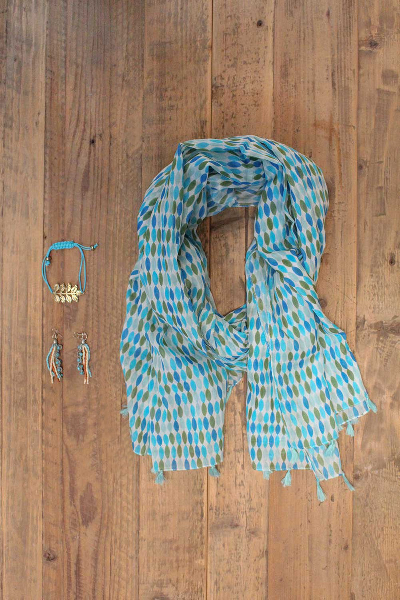 Blue and Green Scarf - Le Marché Pop Up