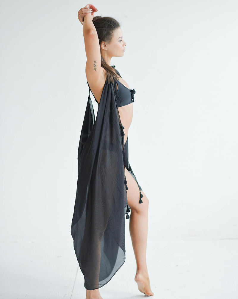 Silk Tassel Cover-Up - Black