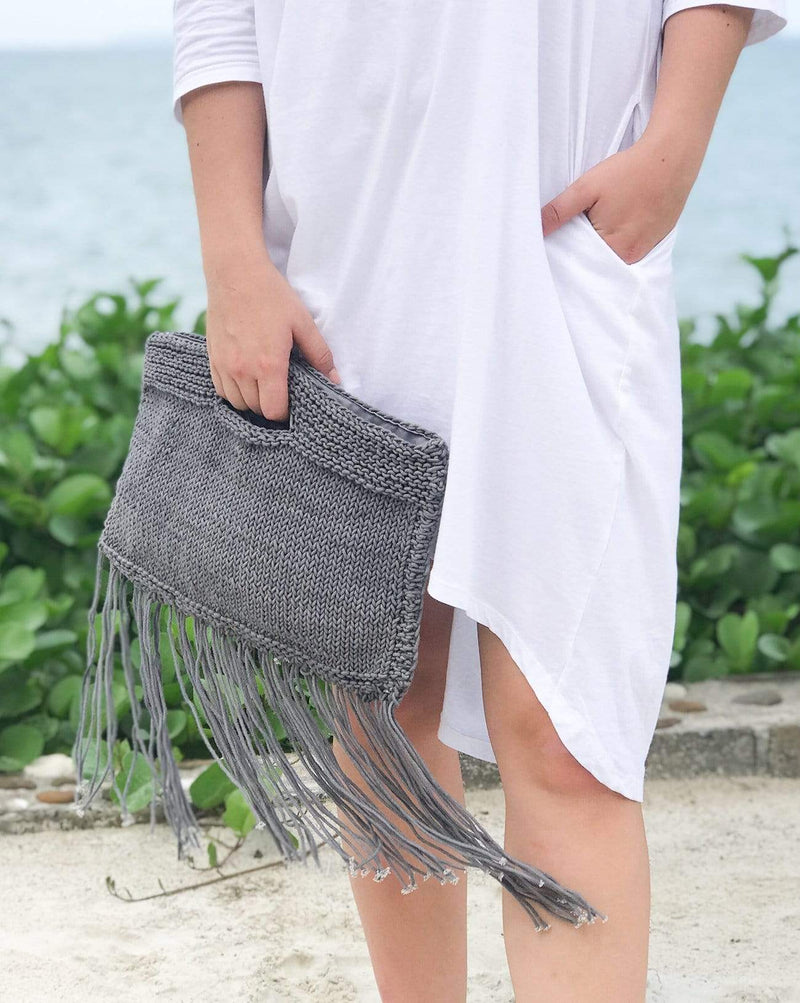 Soho Clutch with Fringe - Blue