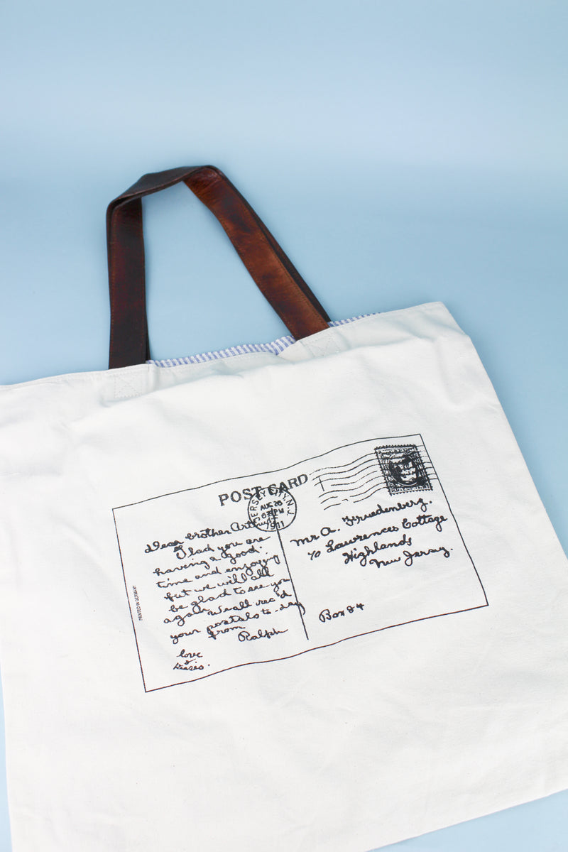 Ivory Post Card Recycled Canvas Bag #38