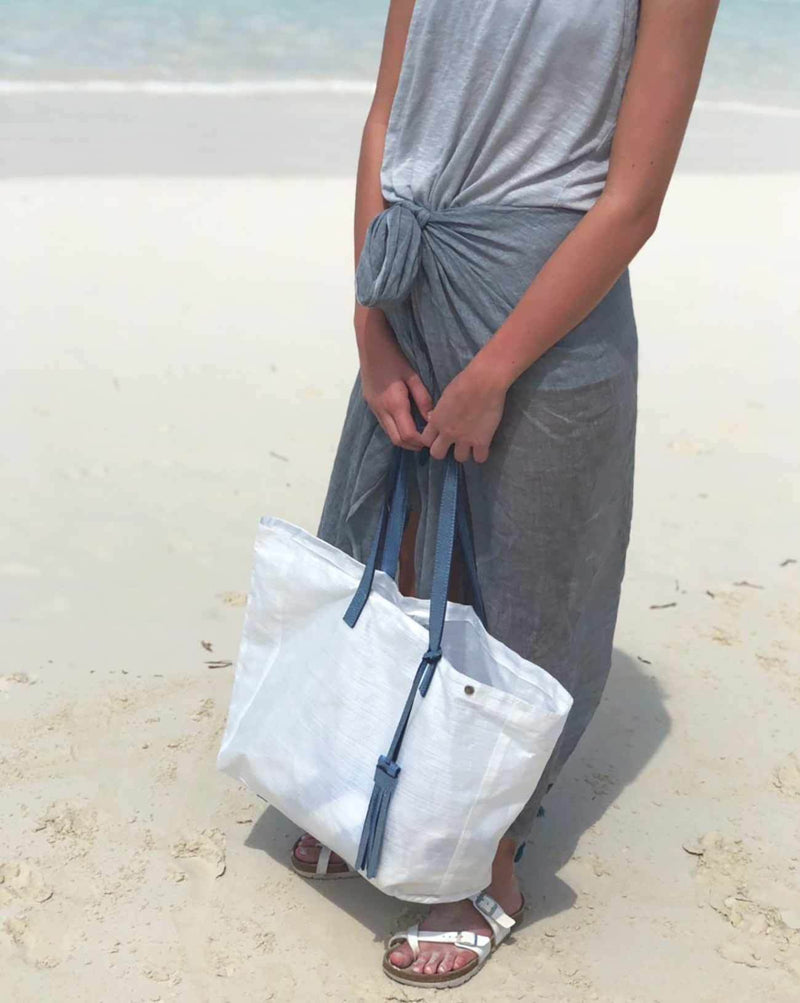 Tote Bag with Tassel - Blue Metallic - Le Marché Pop Up