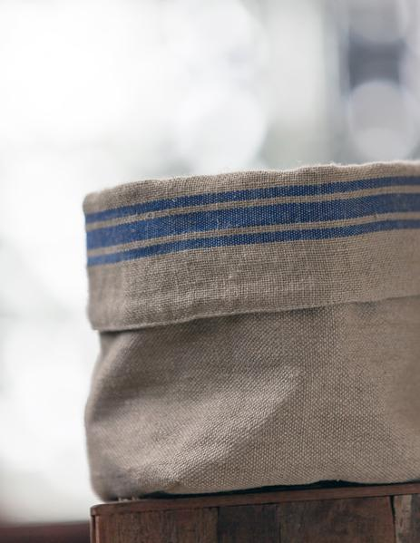 Thieffry Blue Monogramme Linen Bread Bag