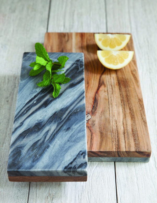 Gray Marble & Wood Reversible Board, Large