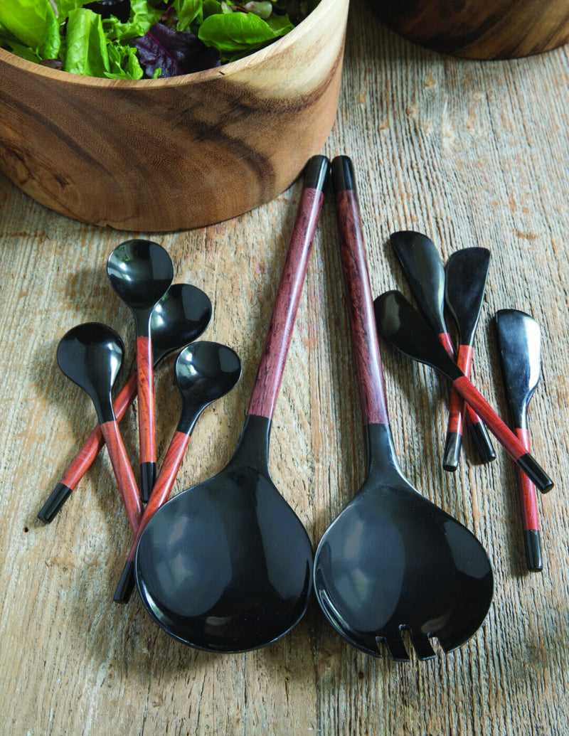 Black Horn & Red Wood Spoons Small Set of 4