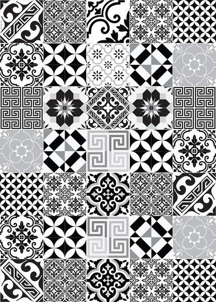 "Beija Flor Black and White Eclectic Wide Floor Mat (39"" x 55"") - Le Marché Pop Up"