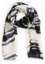 Black and White Brushstroke Wool Scarf #28
