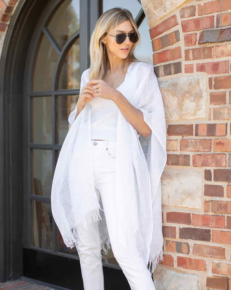 The Linen Wrap in White - Le Marché Pop Up