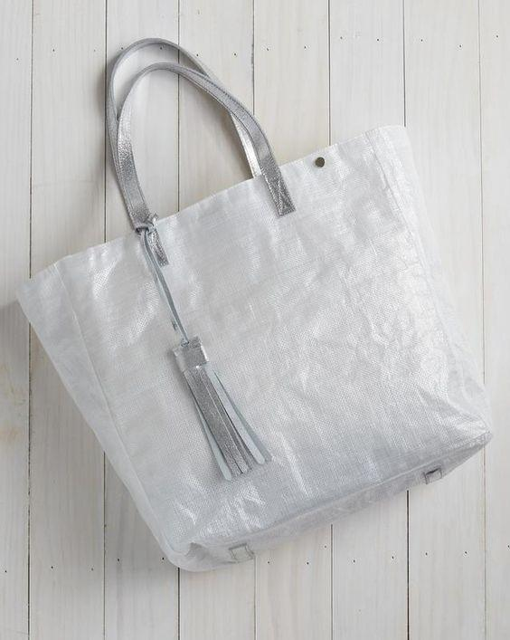 Tote Bag with Tassel - Silver Metallic - Le Marché Pop Up