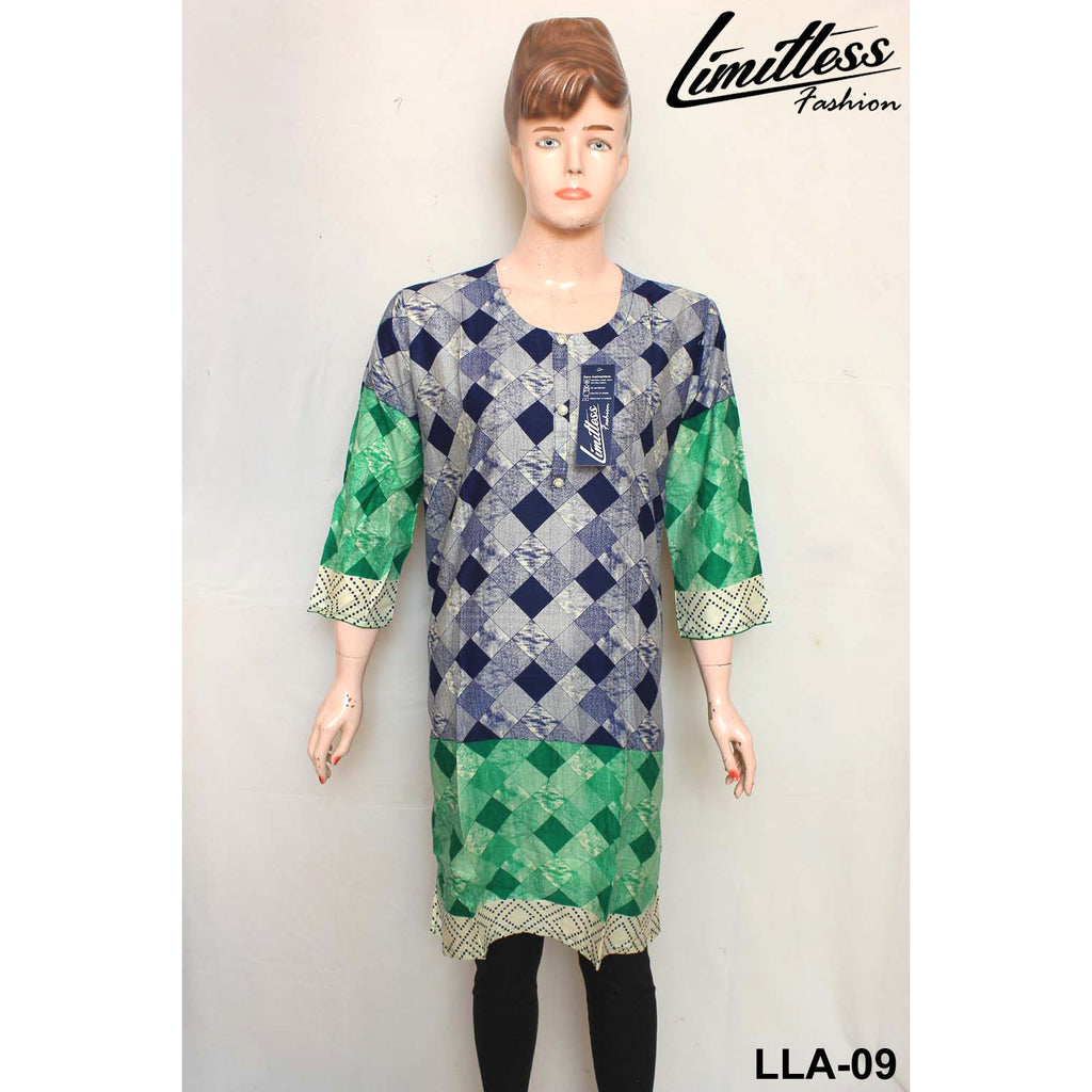 Limitless Fashion Printed Cotton Lawn Stitched Kurti for Girls & Women in Large - LLA-09