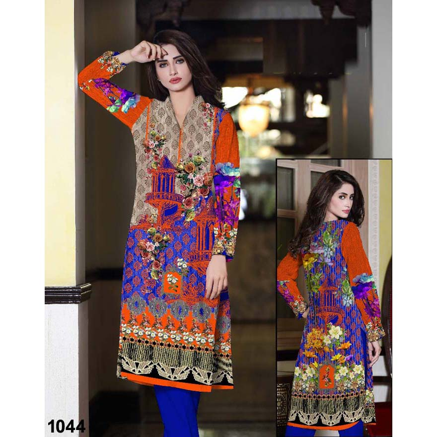 Rose Tree Multi Color Digital Printed Lawn Kurti For Women - 1044