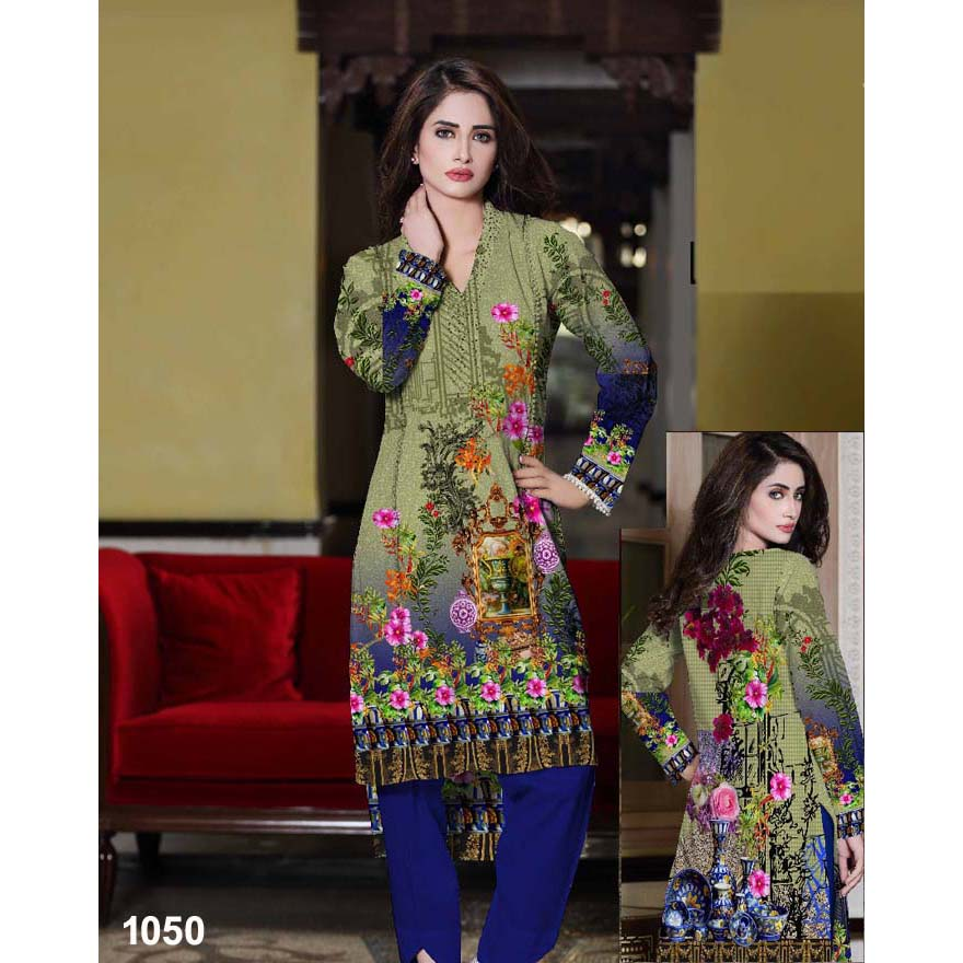 Rose Tree Multi Color Digital Printed Lawn Kurti For Women - 1050