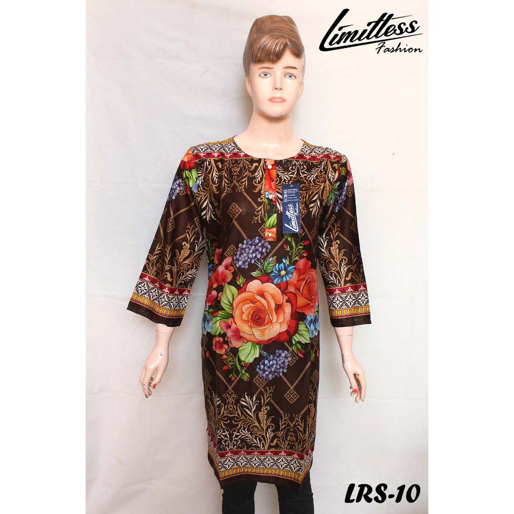 New & Latest Printed Lawn Stitched Kurti for Women in Medium - LRS-10