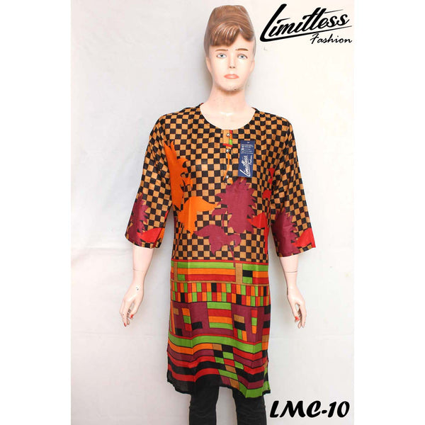 New & Latest Printed Lawn Stitched Kurti for Women in Medium - LMC-10