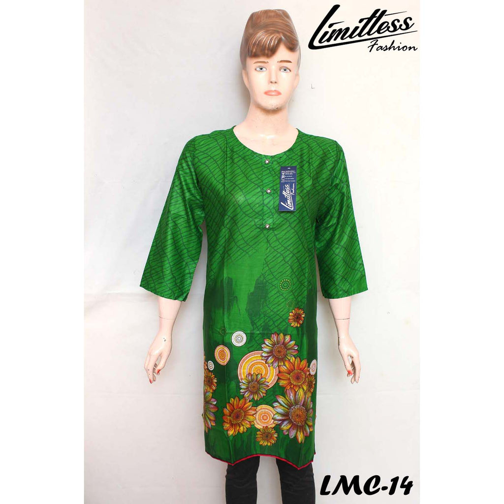 New & Latest Printed Lawn Stitched Kurti for Girls & Women's in Medium - LMC-14