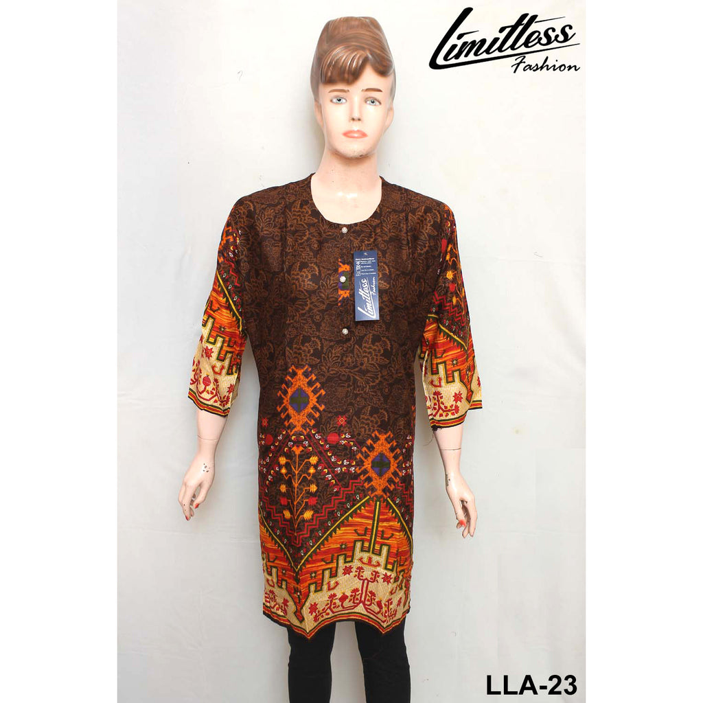 Limitless Fashion Printed Cotton Lawn Stitched Kurti for Girls & Women in Large - LLA-23