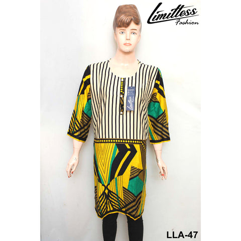 Limitless Fashion Printed Cotton Lawn Stitched Kurti for Girls & Women in Large - LLA-47