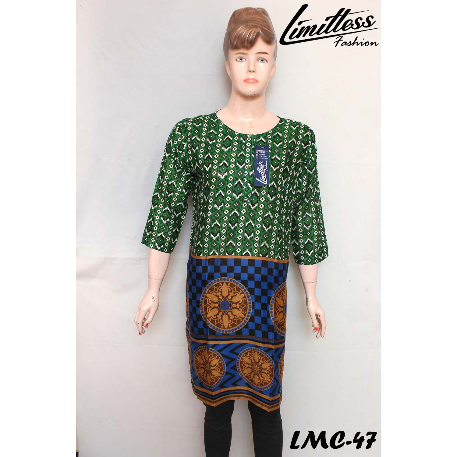 New & Latest Printed Lawn Stitched Kurti for Girls & Women's in Medium - LMC-47