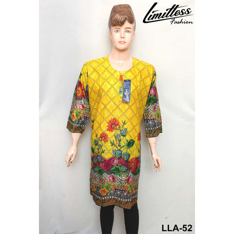 Limitless Fashion Printed Cotton Lawn Stitched Kurti for Girls & Women in Large - LLA-52