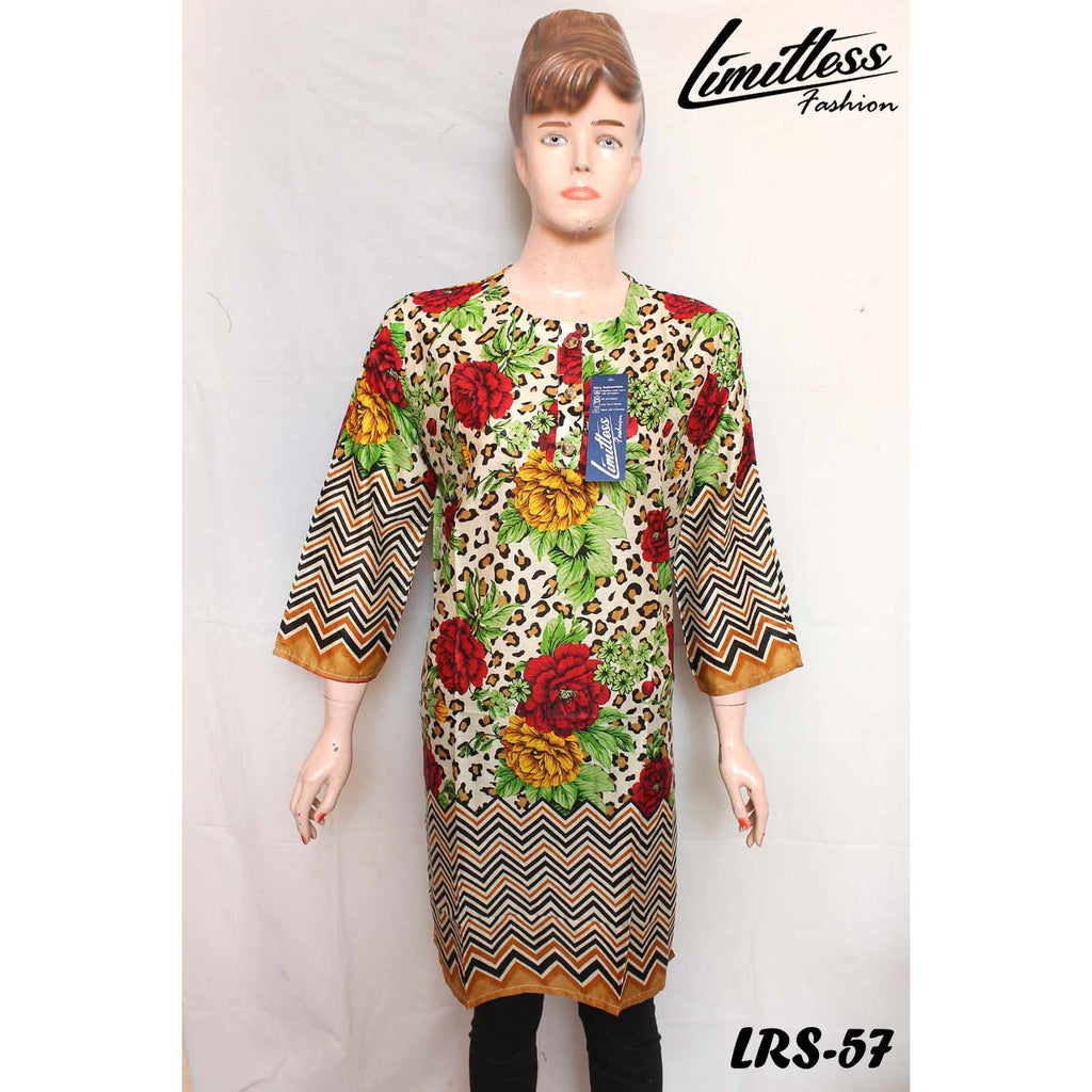 New & Latest Printed Lawn Stitched Kurti for Women in Medium - LRS-57